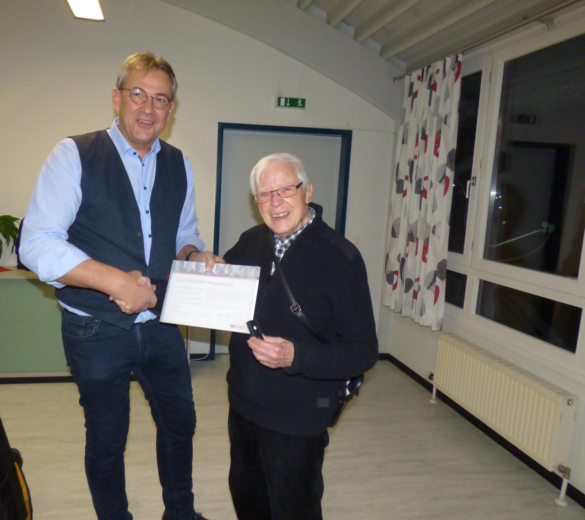 Ehrung von Toni Ney für 60 Jahre Mitgliedschaft in der CDU